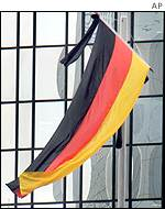 German flag with mourning strip