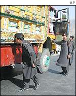Khyber Pass political agents inspect a truck coming from Afghanistan into Pakistan