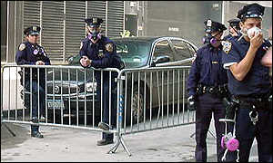 New York police officers manning barricades