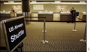 A US Airways check-in desk