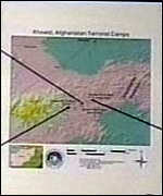 [ image: Defence officials showed maps of the strikes]
