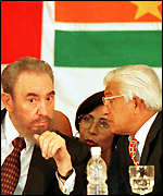 [ image: A word in your ear: Castro with Trinidad and Tobago Prime Minister Basdeo Panday]