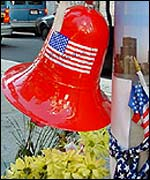Stars and stripes bell outside office