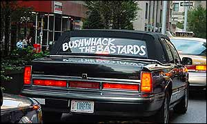 Limo with Bushwhack the bastards written in the window