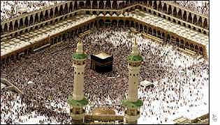 Thousands of Muslim pilgrims inside the Grand Mosque in Mecca, Saudi Arabia