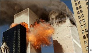 The burning towers of the World Trade Center after Tuesday's attacks
