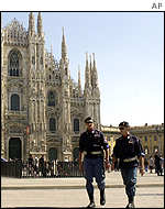Police at the duomo in Milan