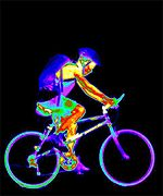 Thermal image of boy on bike