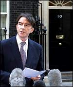 Peter Mandelson announcing his second resignation