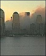 The burning World Trade Center towers