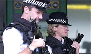 Armed police patrol Heathrow