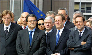 European leaders, including Romano Prodi, President of the European Commission (2nd from the left)