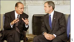 Jacques Chirac and George Bush