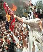 The US flag being burned in Peshawar
