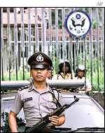 Indonesian police outside US embassy