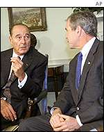 French President Jacques Chirac and US President George W Bush
