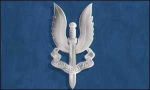 The SAS badge, a flaming sword of retribution