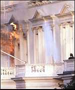 Flames billow from the Iranian embassy in 1980 as the SAS go in