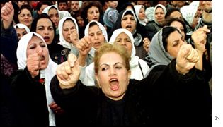 Iraqi women protest against the US in Baghdad