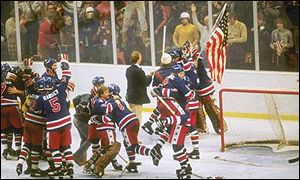 The USA celebrate their ice hockey gold medal at Lake Placid