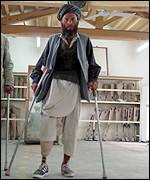 Man in a Red Cross prosthetic hospital