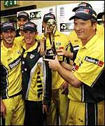 Steve Waugh holds the NatWest Series trophy