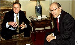 Federal Reserve chairman Alan Greenspan with US President George W Bush