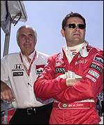 Gil de Ferran (right) and team boss Roger Penske