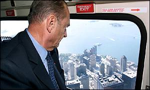 President Jacques Chirac flies over site of WTC