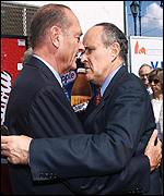 Chirac (left) greeted by Mayor Guiliani