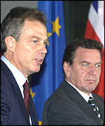 UK Prime Minister Blair, left, and Germany's Chancellor Schroeder at the EU summit
