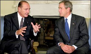 French President Jacques Chirac meets US President George Bush