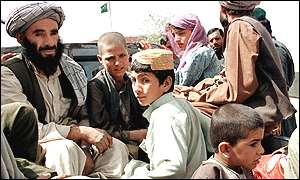 Afghan refugees at Chamman on the Pakistan border