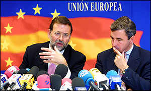 Spanish Interior Minister Mariano Rajoy and Justice Minister Angel Acebes