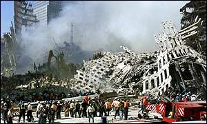 The wreckage at the World Trade Center