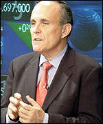 New York Mayor Rudolph Giuliani at the Nasdaq market site