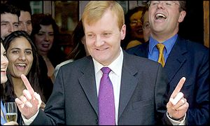 Charles Kennedy celebrates after the general election