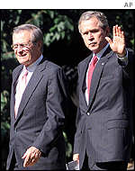 Donald Rumsfeld and President Bush