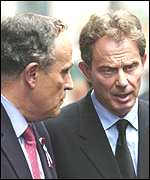 Tony Blair and Rudolph Giuliani