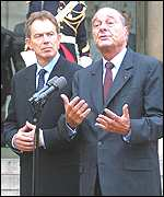 Blair with French President Jacques Chirac