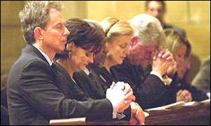 Tony Blair at church service in New York