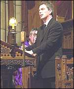 Tony Blair addresses church congregation