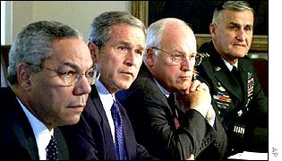 President Bush and security advisors