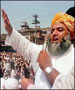 Jamiat-Ulema-i-Islam leader, Faz ul Rehman, addresses an anti-US rally in Peshawar