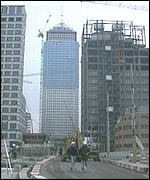A building site in Canary Wharf