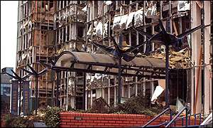 Bomb damage at Canary Wharf in 1995