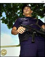 Security outside Bangkok US embassy