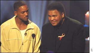 Muhammad Ali with Will Smith, who portrays the former boxing champion in a forthcoming film