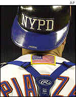 New York Mets player with NYPD cap