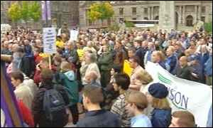 Rally crowd in George Square, Glasgow